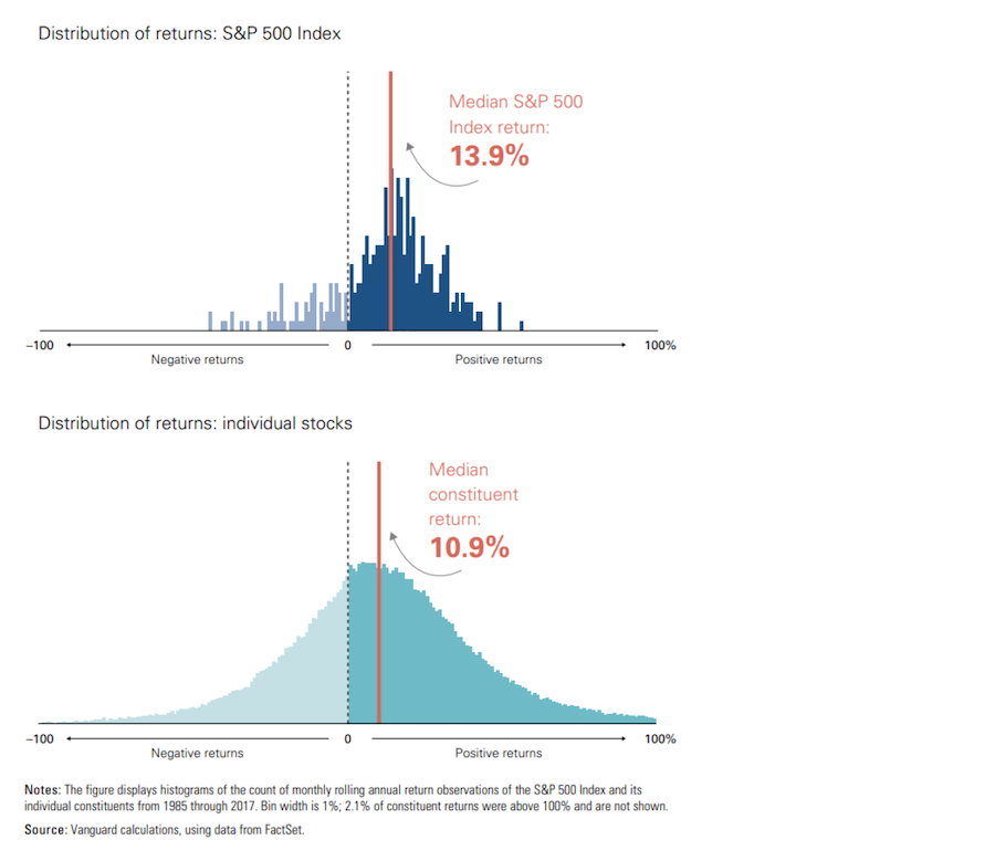 Distribution of Returns S&P 500 Index vs Individual Stocks